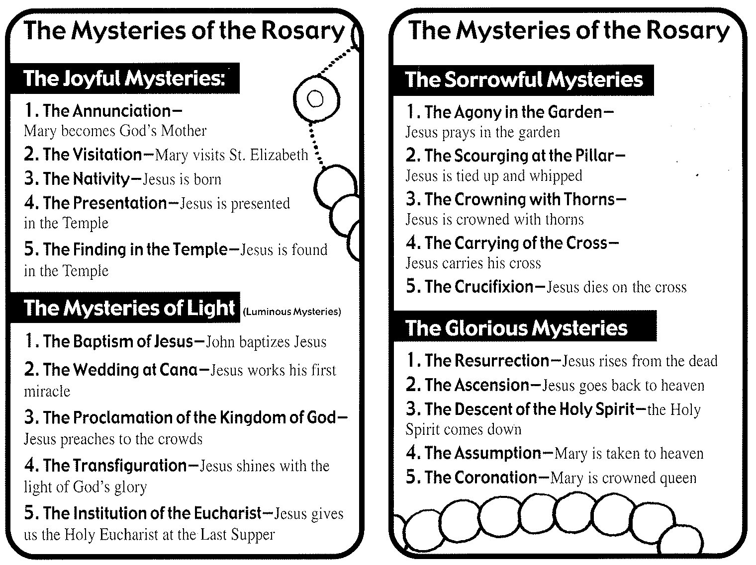 The rosary the month of october is dedicated to the holy rosary the